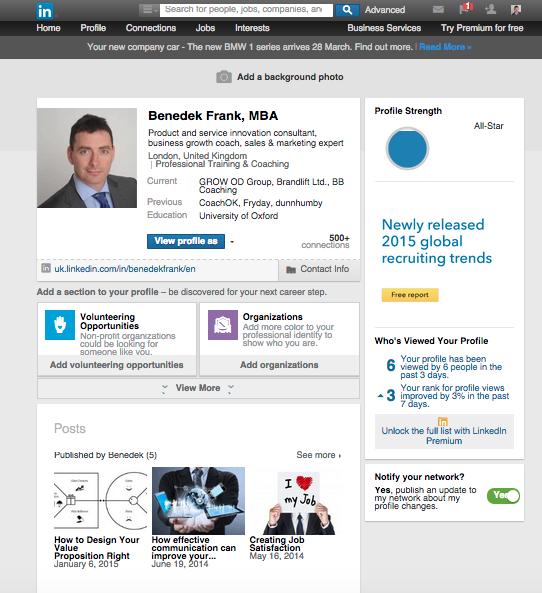 LinkedIn profil kialakítása